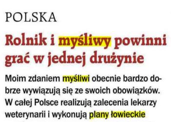 """""""Rolnik i myśliwy powinni graćw jednej drużynie"""" – artykuł Gazeta Polska"""